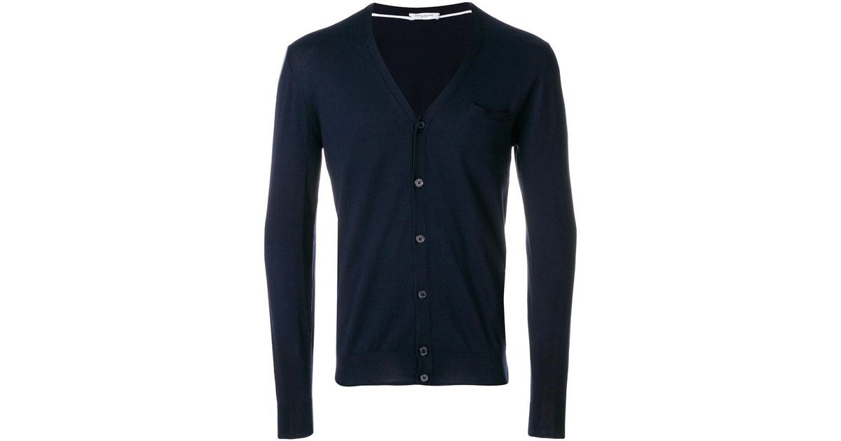 54a719aa97c49 Lyst - Paolo Pecora V-neck Cardigan in Blue for Men