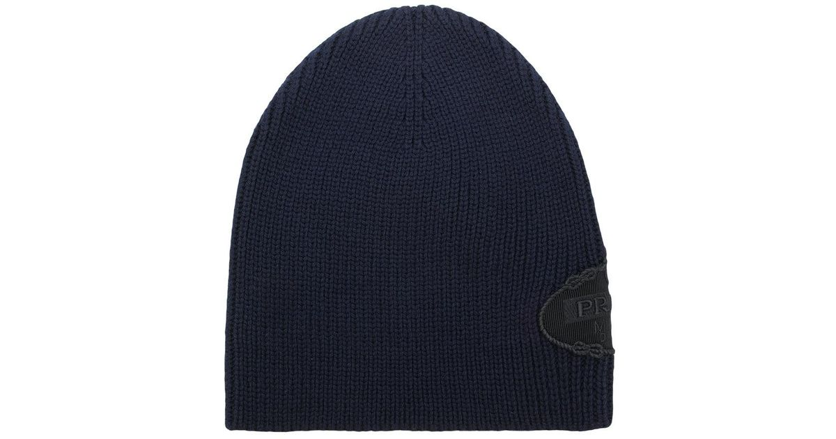 Lyst - Prada Logo Knitted Beanie Hat in Blue for Men 9f3ae39ff986