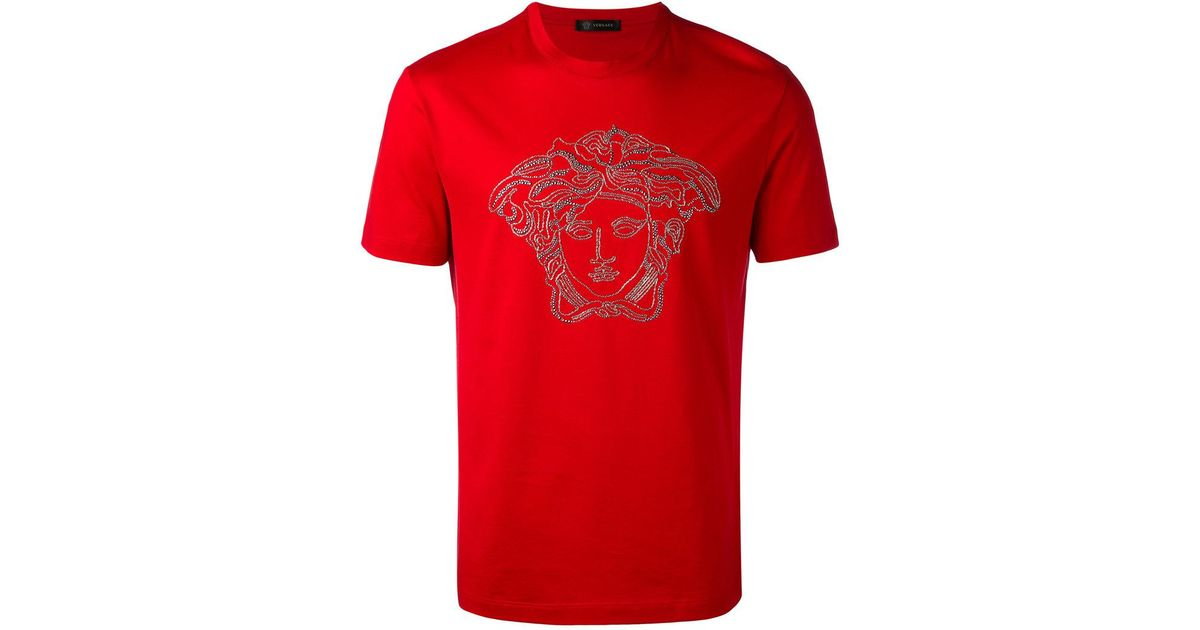 95693327b038 Versace Medusa Head Swarovski T-shirt in Red for Men - Lyst