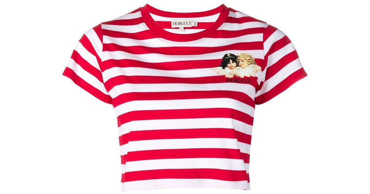 58edead94b8 Fiorucci Striped Cherub T-shirt in Red - Lyst
