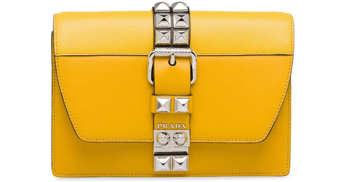 7da75b1c8aee Prada Elektra Studded Shoulder Bag in Yellow - Lyst