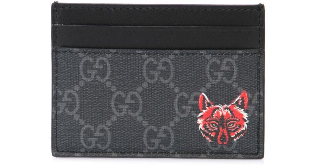 14135df5b283 Gucci GG Card Case With Wolf Head in Black for Men - Save 16% - Lyst