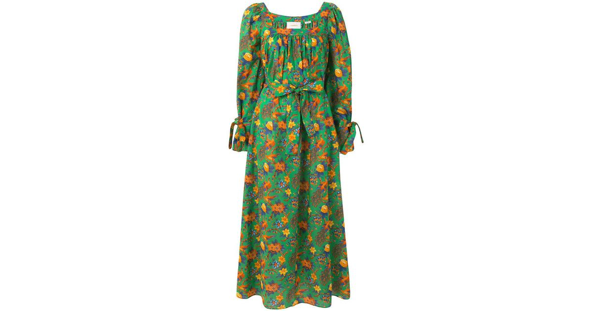 floral print balloon sleeve dress - Green La DoubleJ Discount Clearance Store TSbE7INy