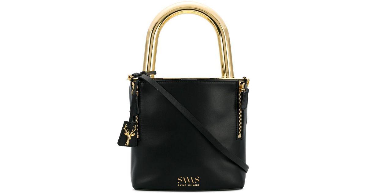 320e8493e4 SAVAS Lucchetto Crossbody Bag in Black - Lyst