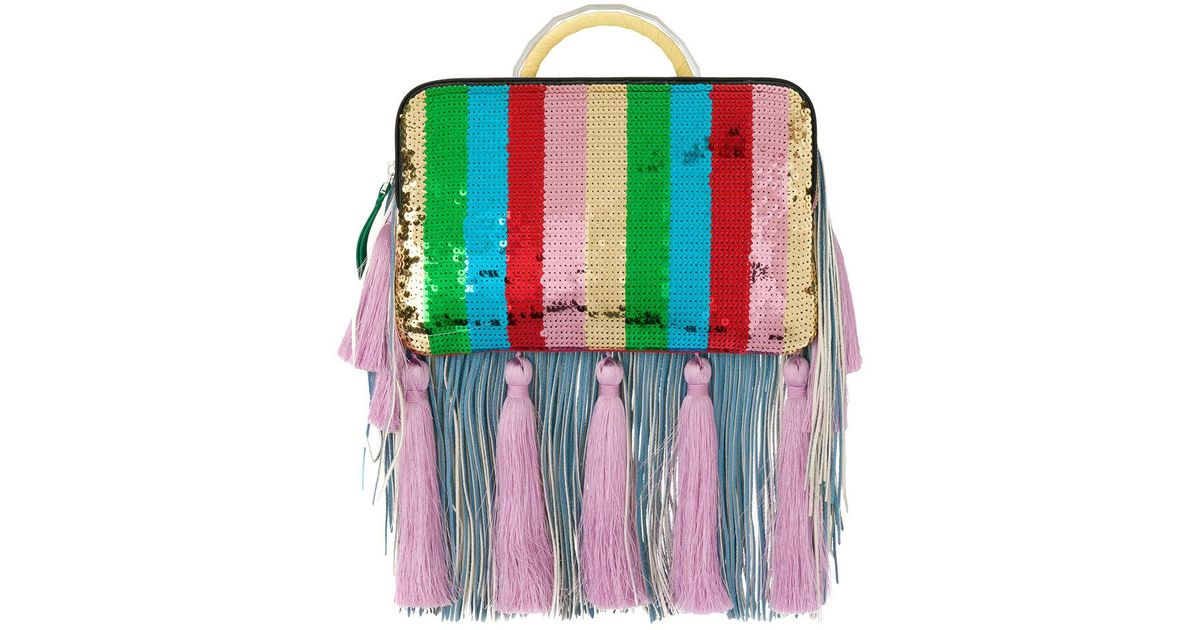 THE VOLON Tassel and fringe detail clutch