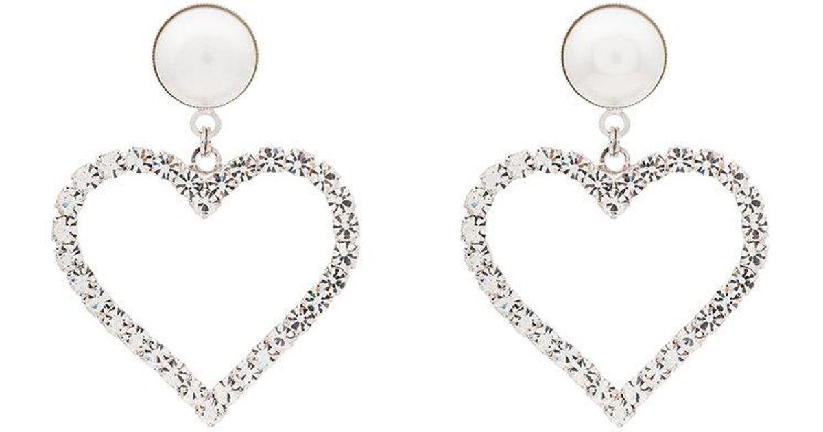 Lyst Alessandra Rich Crystal Pearl Embellished Heart Earrings In Metallic