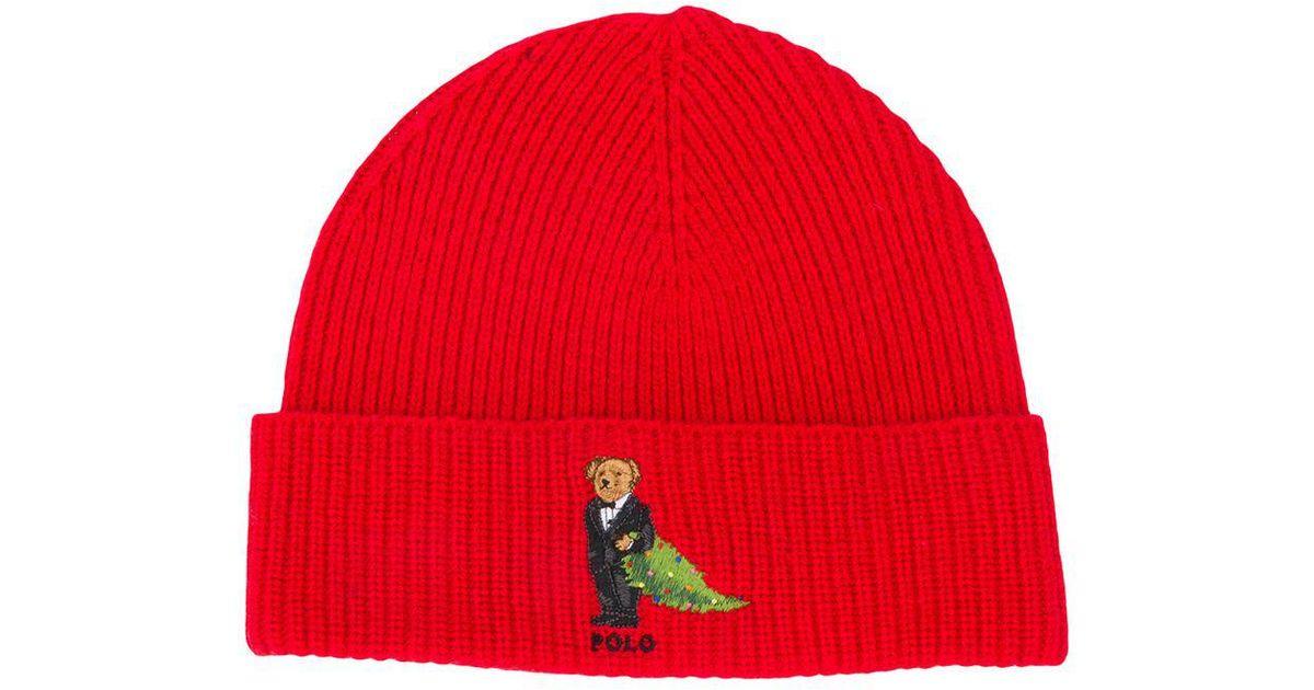 Lyst - Polo Ralph Lauren Christmas Tree Bear Cuff Beanie in Red for Men 121a36d8f28