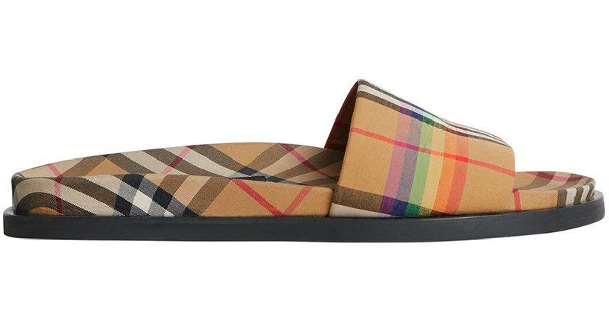 Burberry Rainbow Vintage Check Slides Outlet Manchester Prices Sale Online Cheap Price Low Shipping Fee vROwWnJm