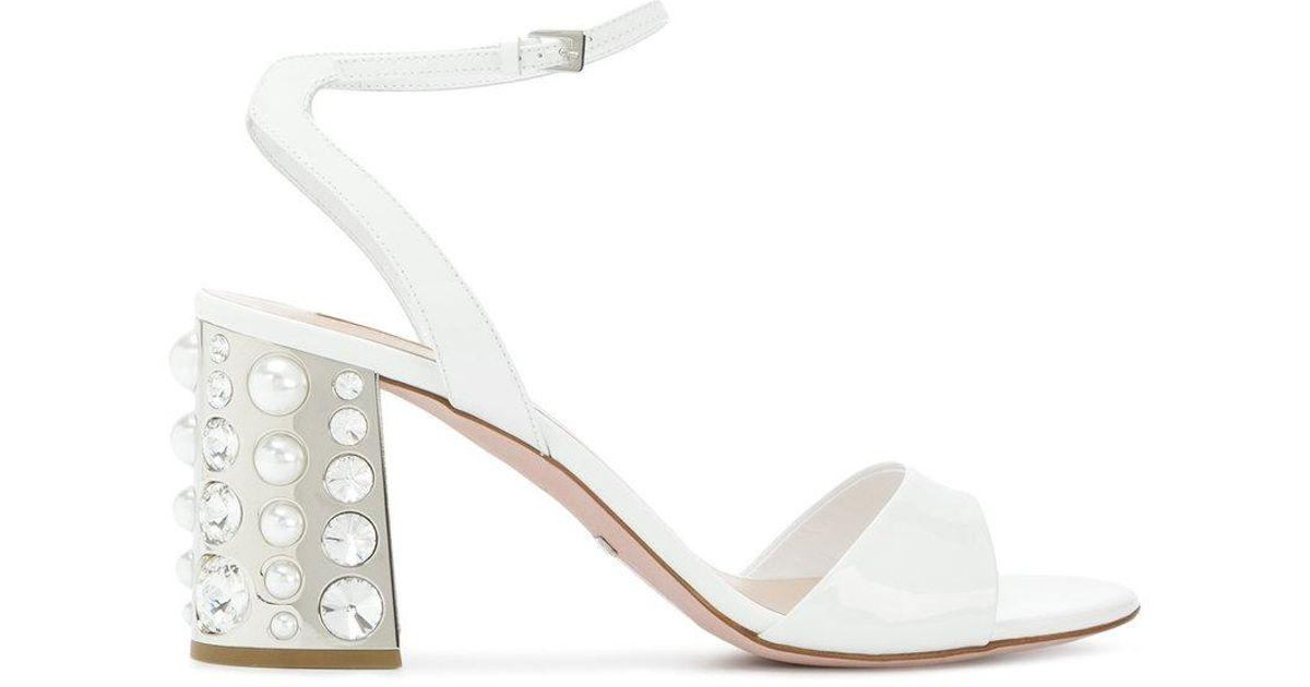 01e77740d Lyst - Sebastian Embellished Block Heel Sandals in White