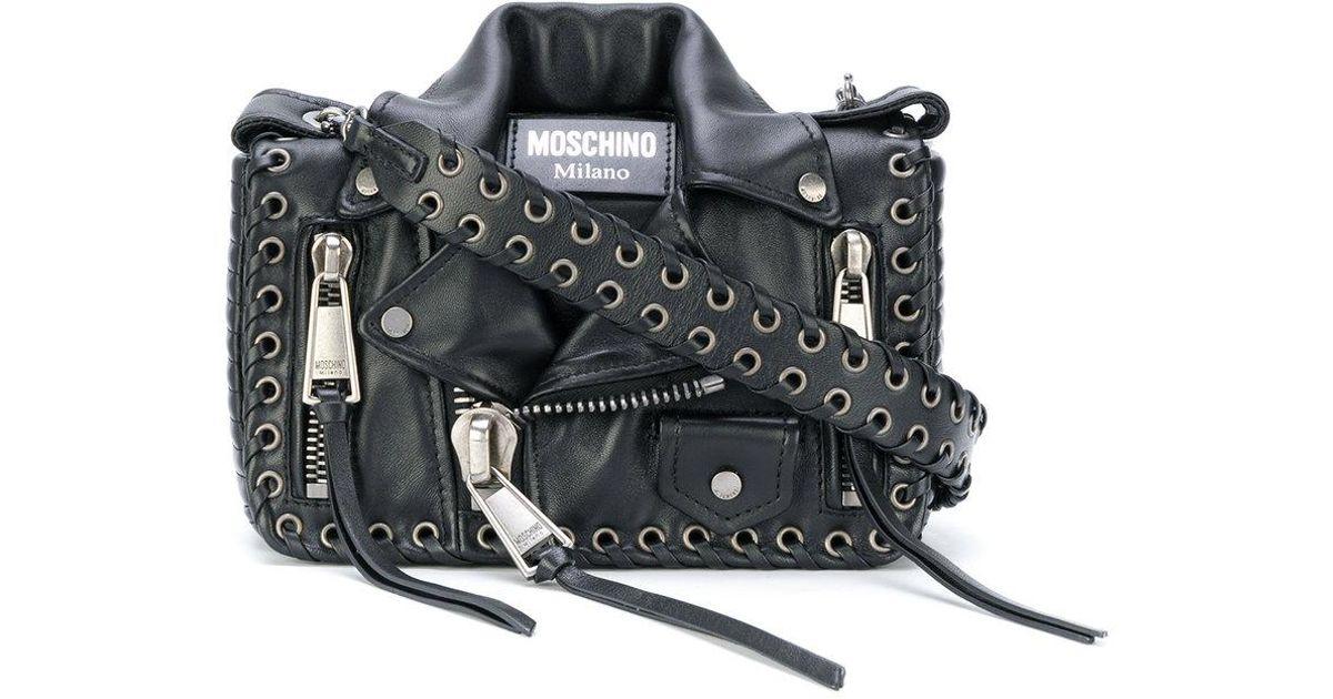 9858215b732 Moschino Eyelet Detail Biker Bag in Black - Lyst