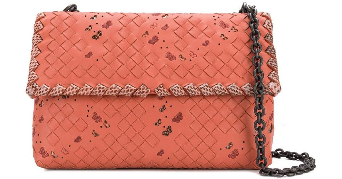 06d949801d6d Bottega Veneta Hibiscus Intrecciato Nappa Ayers Small Olimpia Bag in Pink -  Lyst