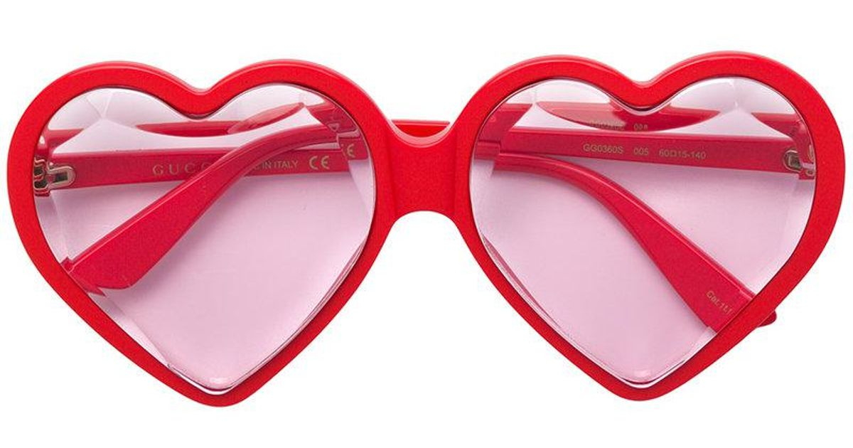 6724b9f136 Lyst - Gucci Love Heart Sunglasses in Red
