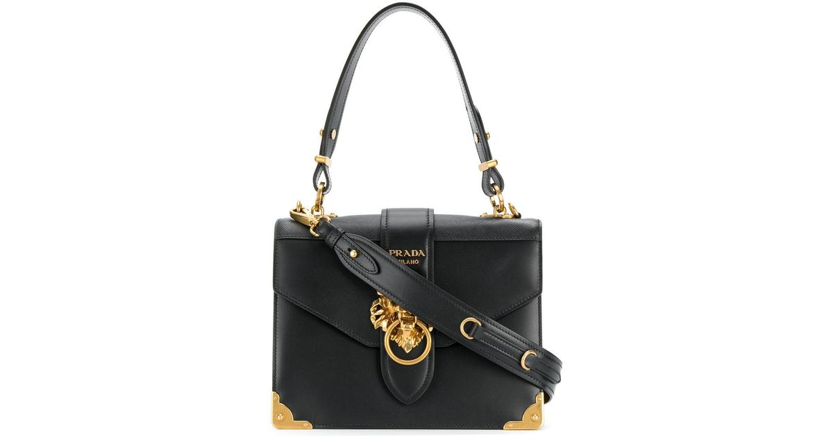 c3e4358738ddbe ... wholesale lyst prada cahier lion embellished shoulder bag in black  4329c 27fbe coupon ...