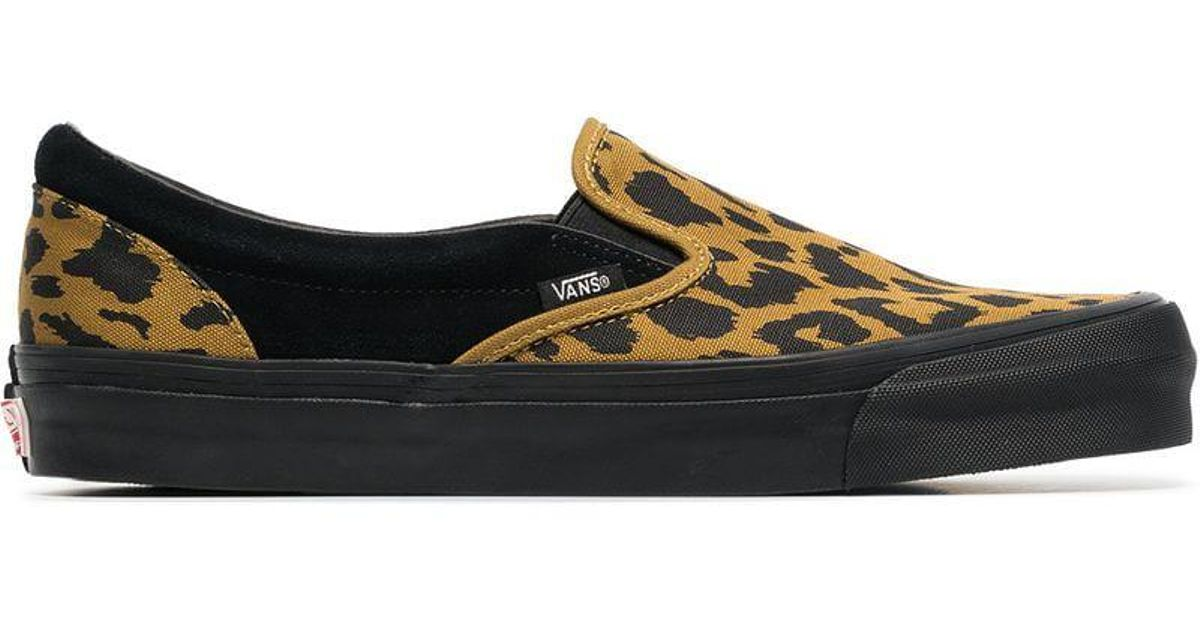 b77048cf15 Lyst - Vans Black And Yellow Vault Ua Og Leopard Print Slip On Sneakers in  Black for Men