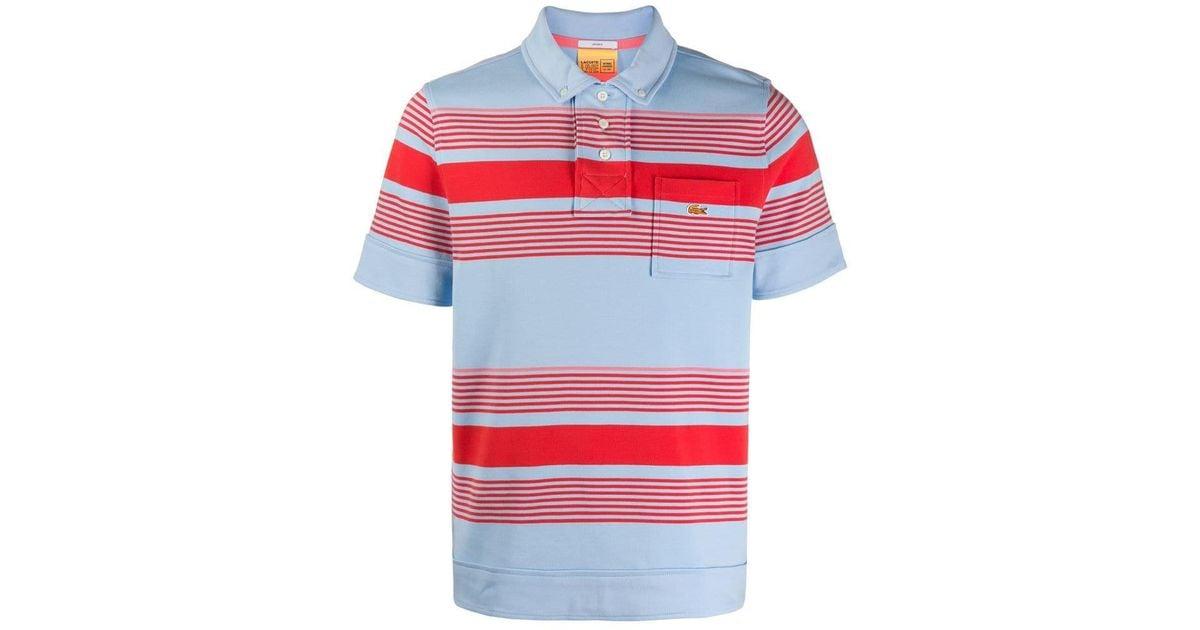 L Lyst Shirt Lacoste Polo Blue Men ive Striped For tsQCohdxBr
