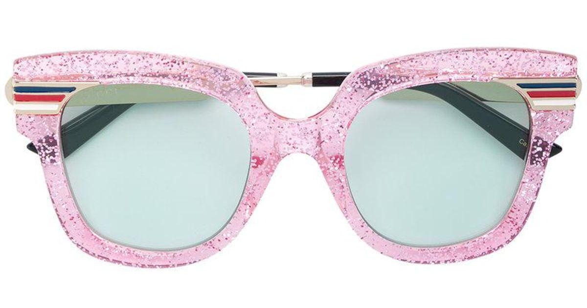 35b797755702f Gucci Oversized Glitter Sunglasses in Pink - Lyst