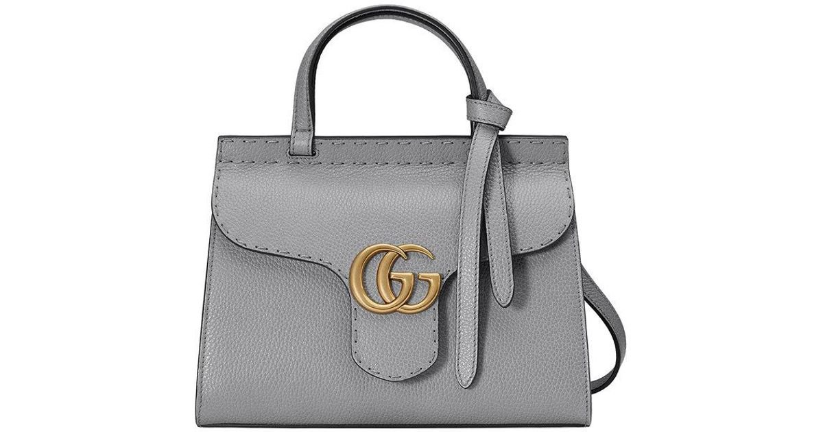 05836ef5eff8 Lyst - Gucci Gg Marmont Leather Top Handle Mini Bag in Gray