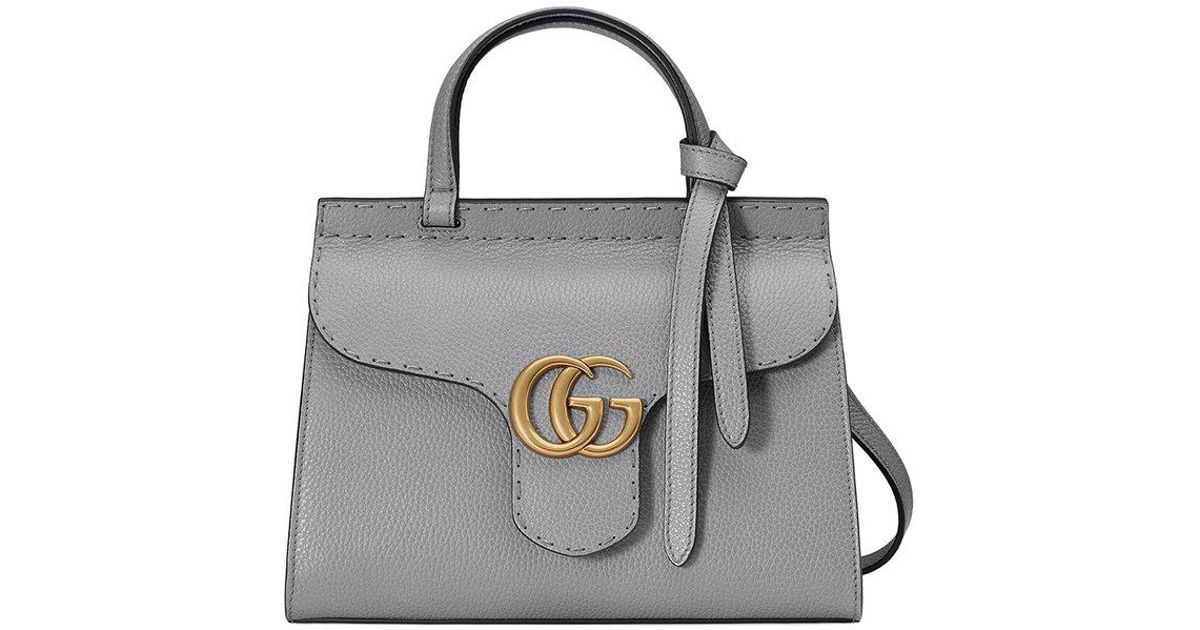3589d01ce112fc Gucci Gg Marmont Leather Top Handle Mini Bag in Gray - Lyst