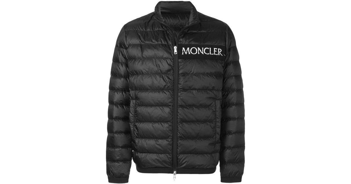 00346954 Moncler - Black Logo Print Padded Jacket for Men - Lyst