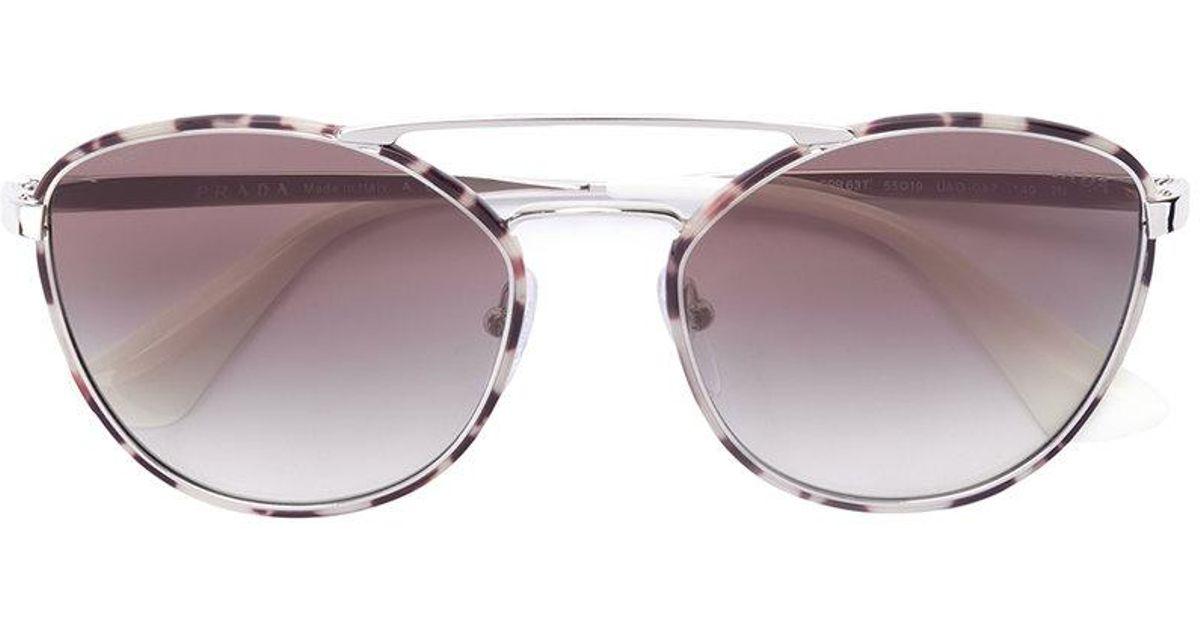 fd222a4034f7 ... australia lyst prada round aviator sunglasses in gray cf425 01b8a