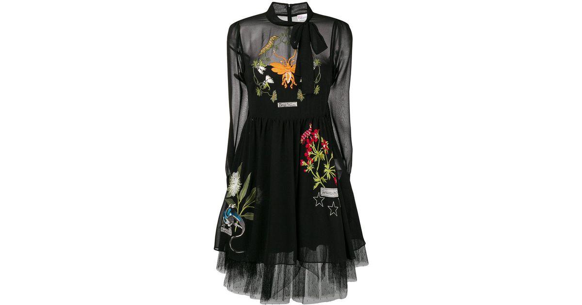 fedc4c4e46 RED Valentino Embroidered Midi Dress in Black - Lyst