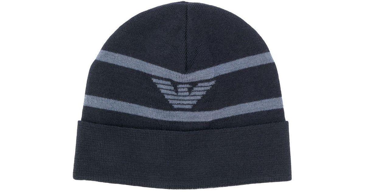 4a3c1e613e Lyst - Bonnet à logo Emporio Armani pour homme en coloris Bleu