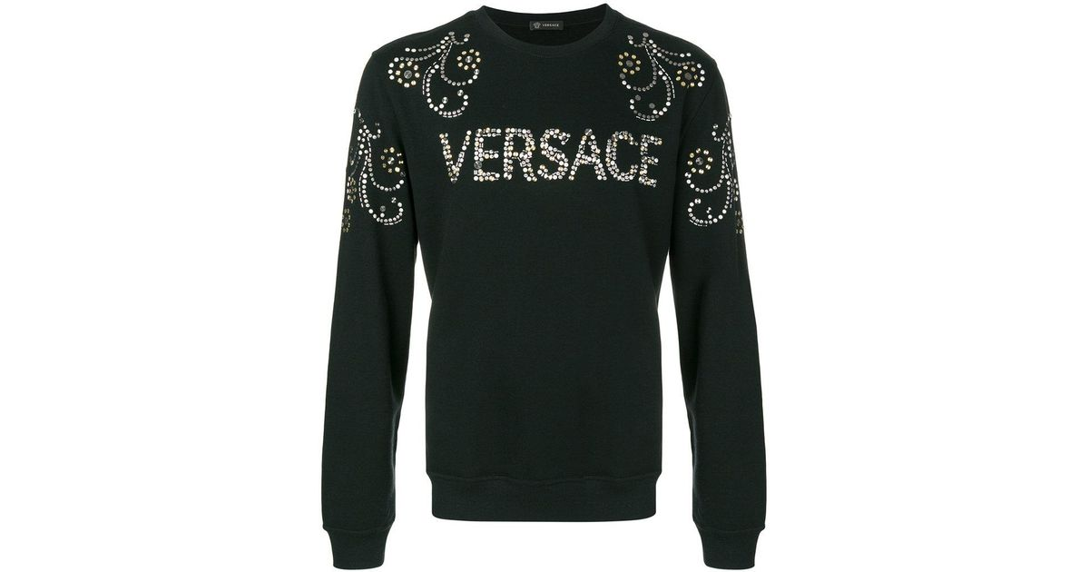 Outlet Genuine studded logo sweatshirt - Black Versace Browse Sale Online Free Shipping Exclusive Free Shipping Brand New Unisex Free Shipping 8eYefYN