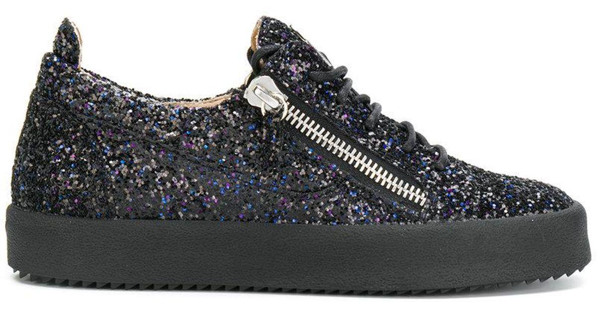 0818e5a81f284 Giuseppe Zanotti Gail Glitter Low-top Sneakers in Black - Lyst
