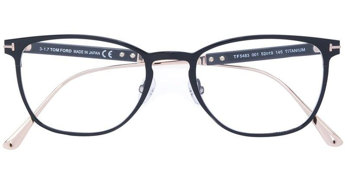 Lyst - Tom Ford Round Thin Frame Glasses in Black