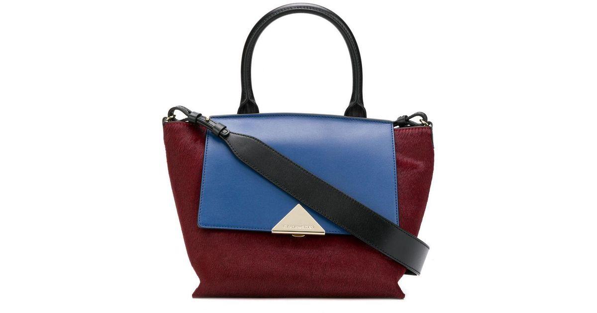 Emporio Armani Colour Block Tote Bag in Red - Lyst 1be38910f46f9
