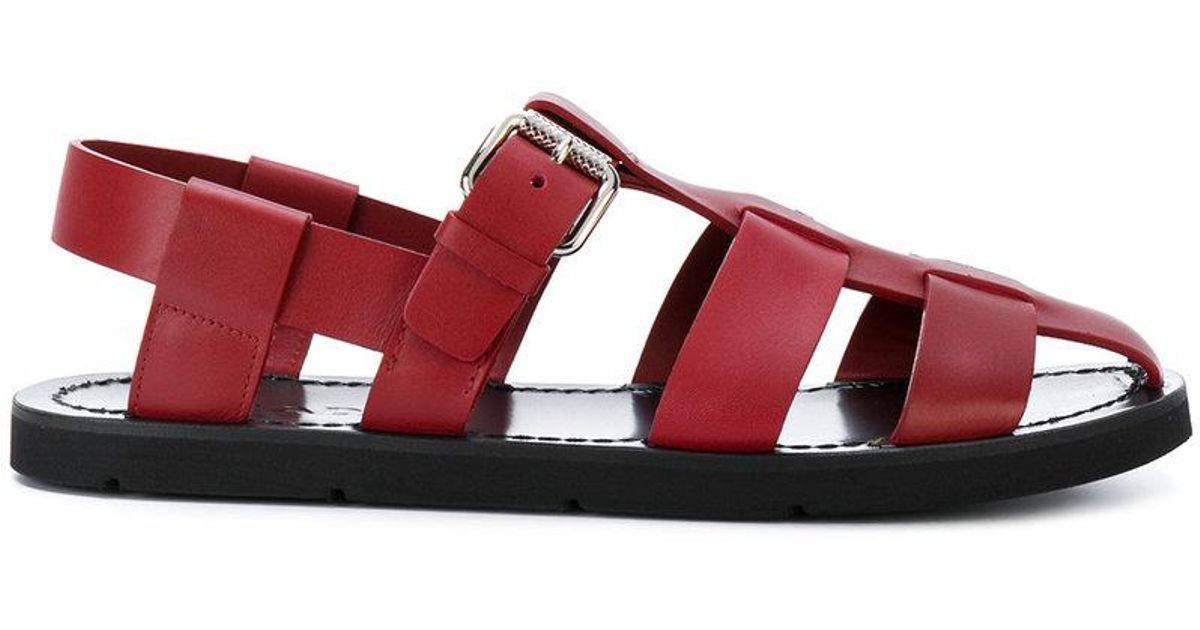 519e630386ad Prada Caged Gladiator Sandals in Red - Lyst