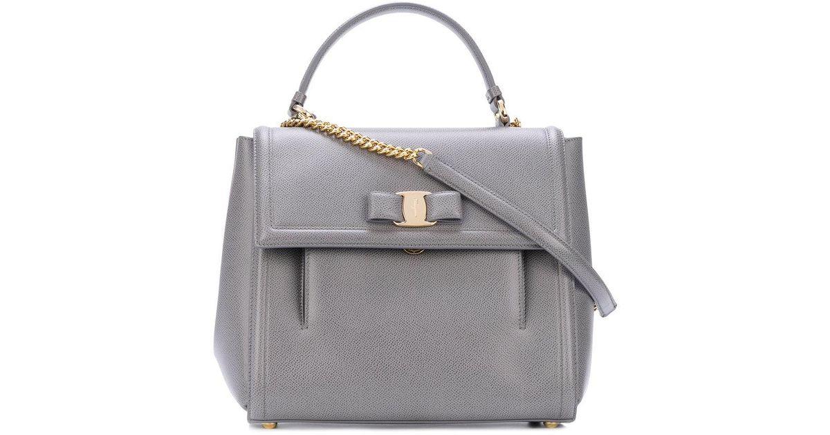 Lyst - Ferragamo Medium Vara Top Handle Bag in Gray c23fb6d5309c2