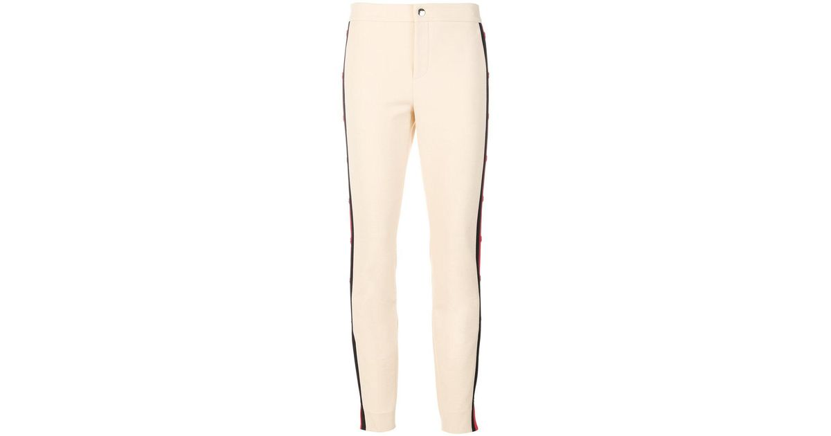 side striped slim trousers - Nude & Neutrals Gucci