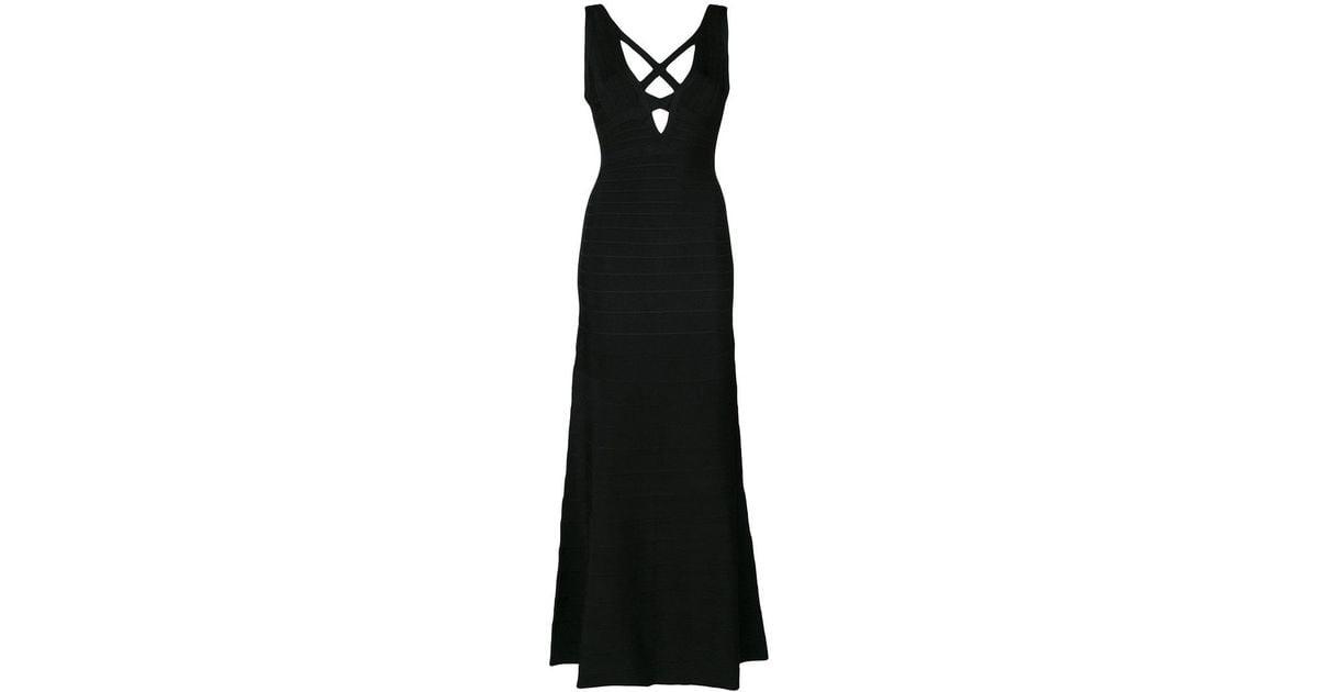 Lyst Herv Lger Sianna Long Dress In Black