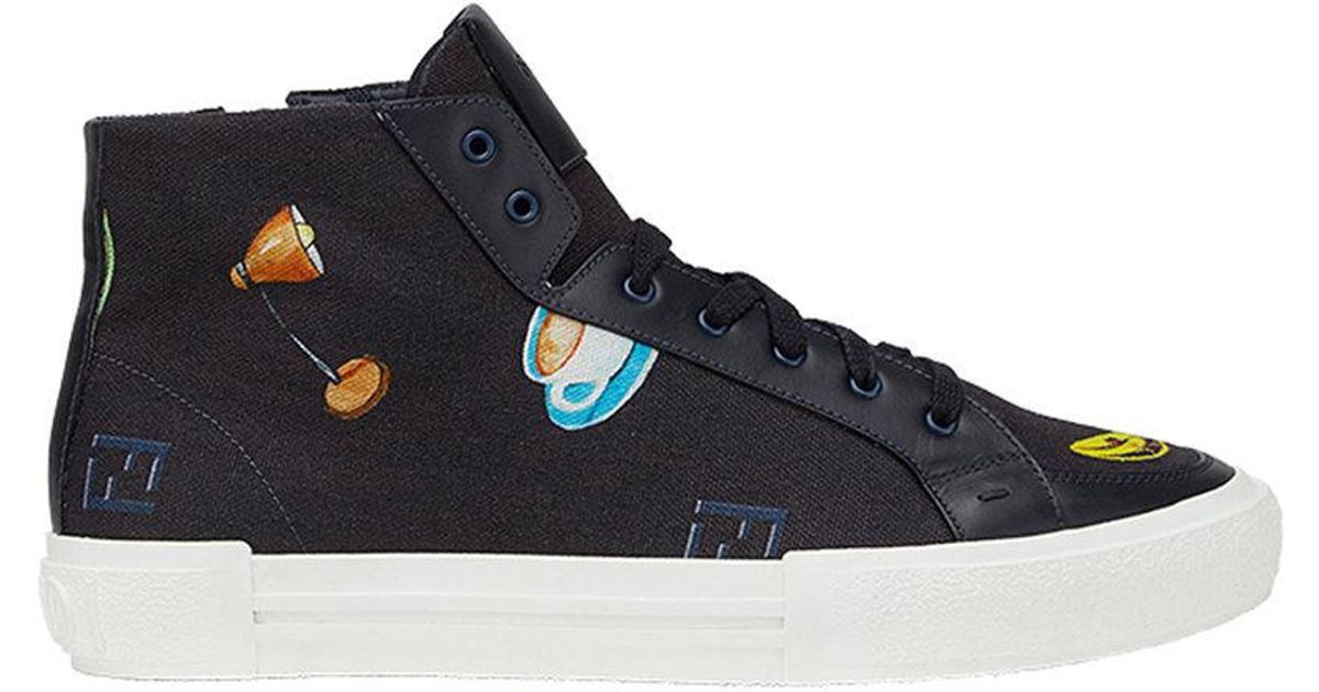 cost for sale really Fendi patch print hi tops fashionable wiki S5FeO