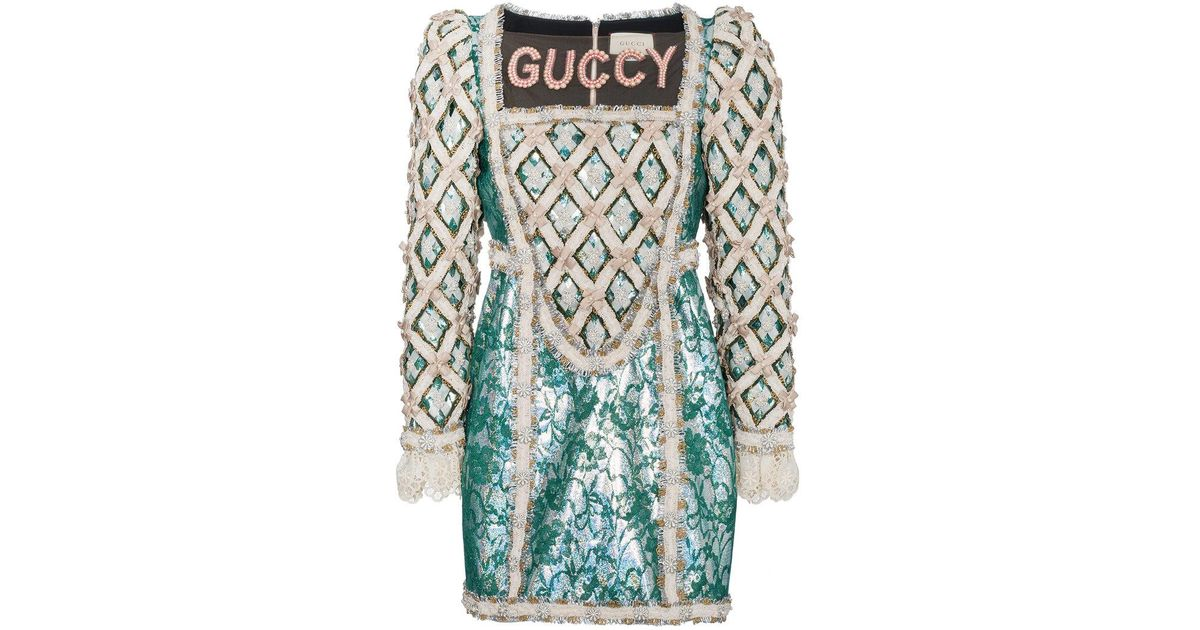 b183e2e97 Gucci Pearl Embellished Guccy Silk Mini Dress in Green - Lyst