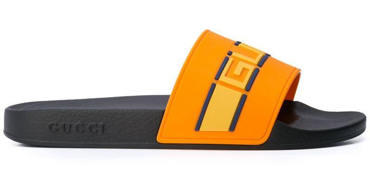 837ac8cb409 Gucci Logo Stripe Slides in Yellow for Men - Lyst