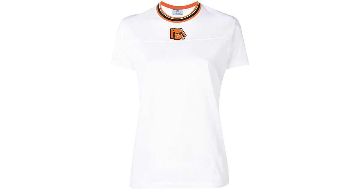 2c4c66e1f Lyst - Prada Logo T-shirt in White