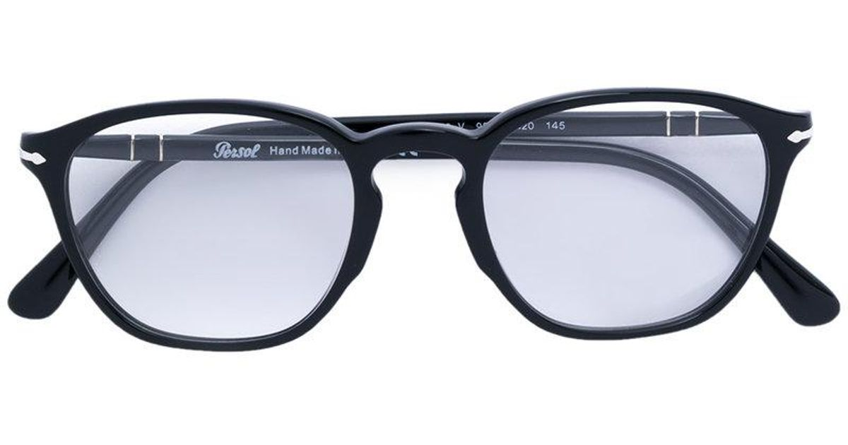9b099889eac06 Persol Rounded Glasses in Black - Lyst