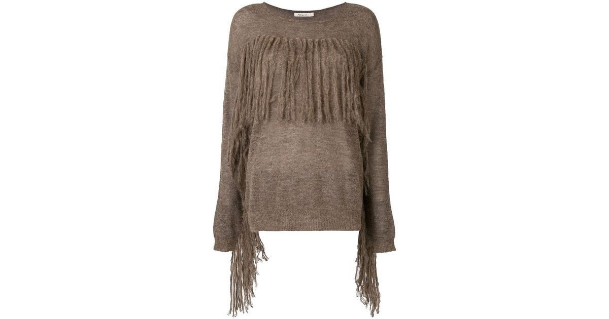 Mes demoiselles Fringed Fitted Sweater in Brown | Lyst