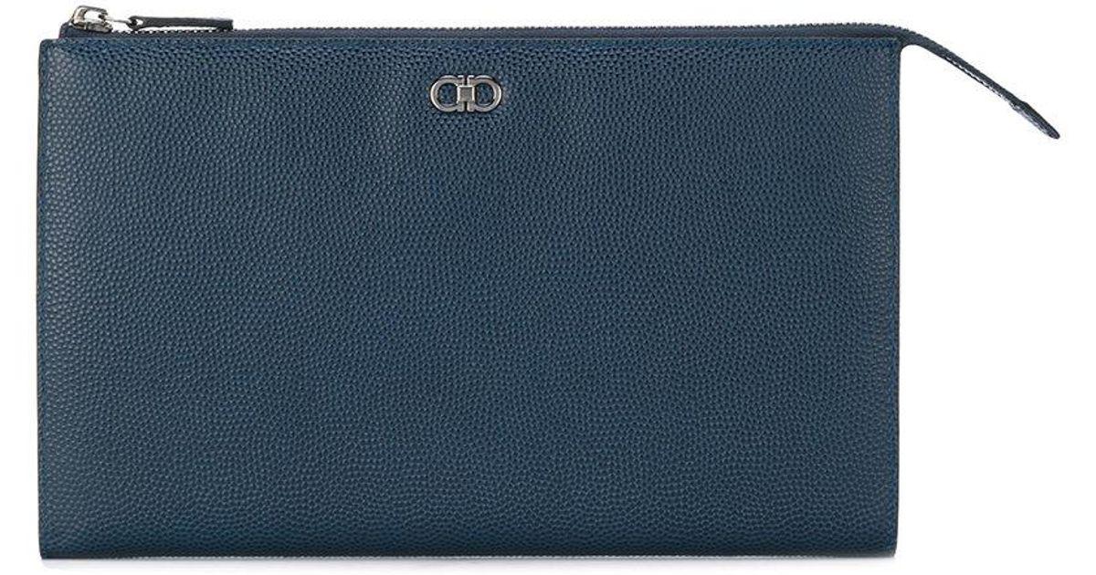 b1a627186c5c Lyst - Ferragamo Double Gancio Clutch Bag in Blue for Men