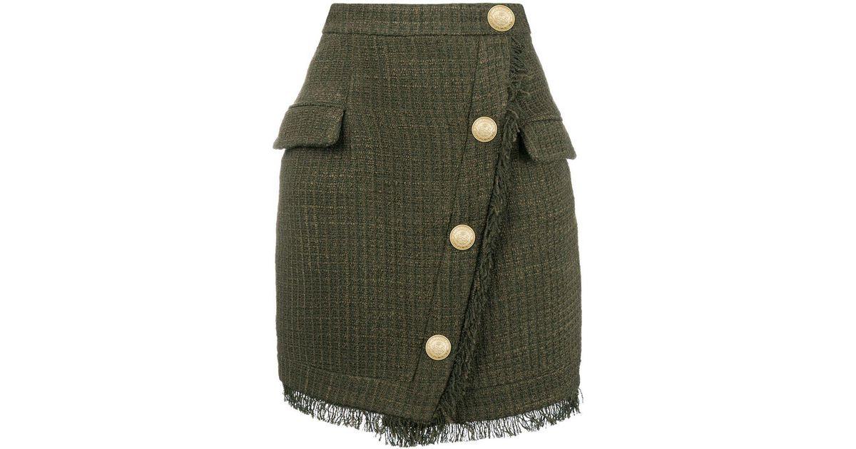 39ba082a Balmain Button-embellished Tweed Skirt in Green - Lyst