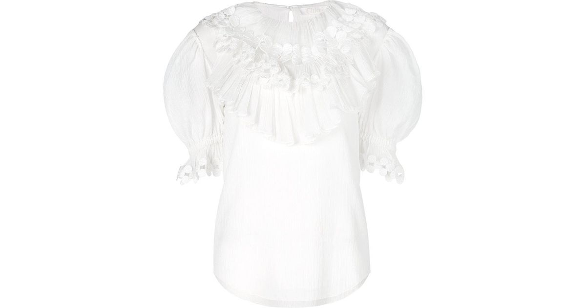 frilled medallion blouse - White Chloé Clearance Prices knDTuWu