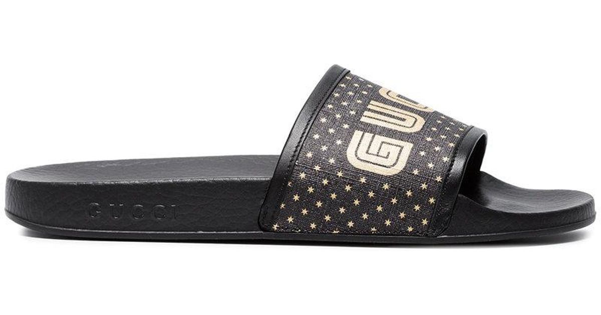 778c1ff6a5a1ee Lyst - Gucci Black Pursuit Guccy Star Print Slides in Black