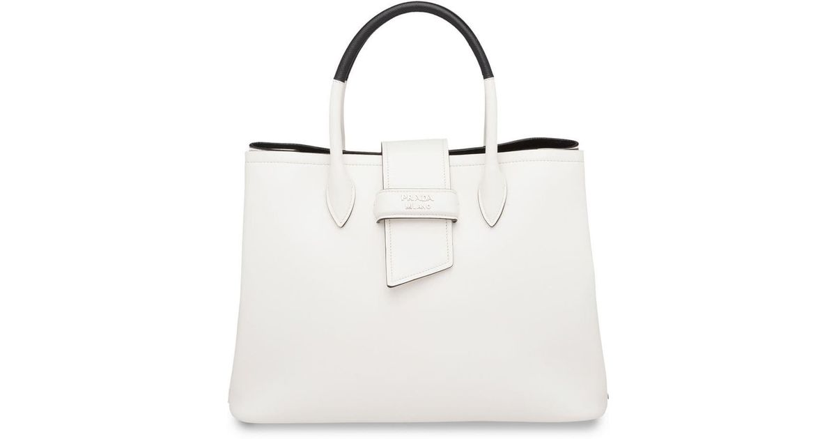 0c3eb9bb1540 Prada Classic Tote Bag in White - Lyst