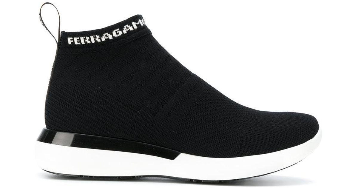 9363a7bc6941 Lyst - Ferragamo Knitted Sock Sneakers in Black