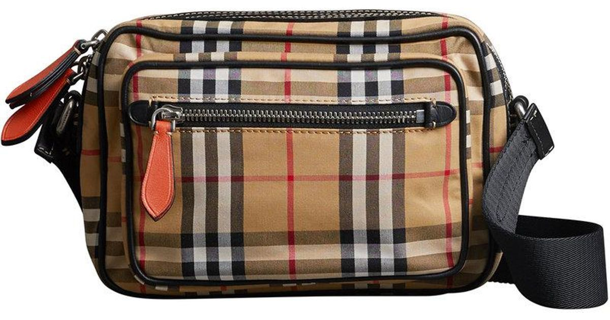 Lyst - Burberry Vintage Check And Leather Crossbody Bag for Men