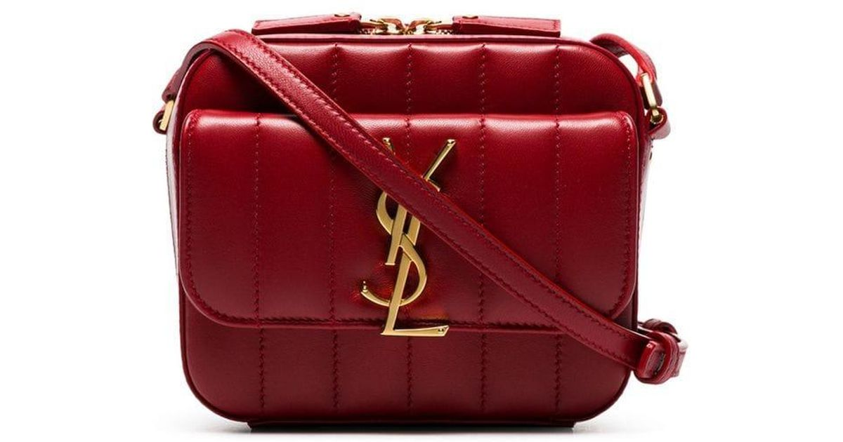 530d48b811d1e Lyst - Saint Laurent Red Vicky Padded-leather Camera Bag in Red