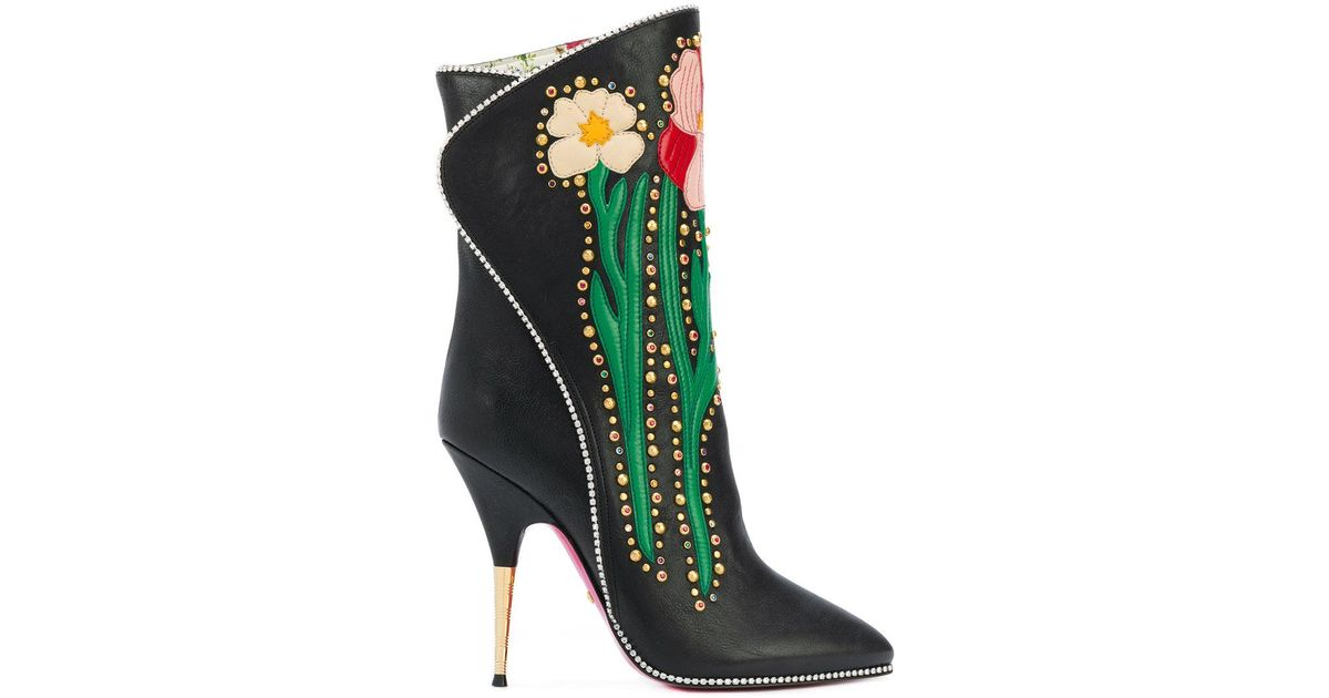 GucciFlowers intarsia boots