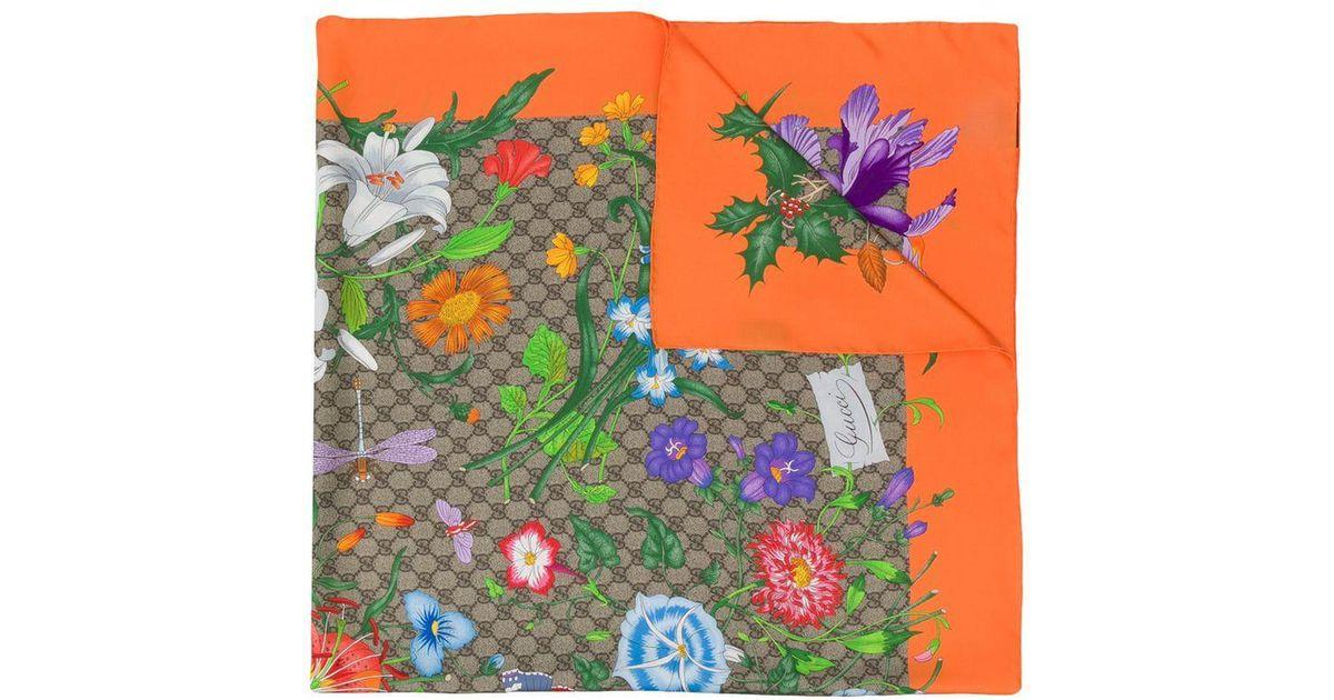 06515834571 Gucci GG Flora Print Scarf - Lyst